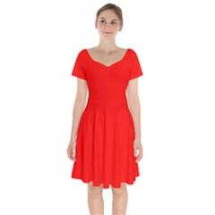 Color Candy Apple Red Short Sleeve Bardot Dress by Kultjers