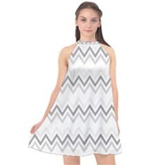 Chevrons Gris/blanc Halter Neckline Chiffon Dress  by kcreatif