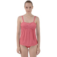 Color Light Red Twist Front Tankini Set by Kultjers