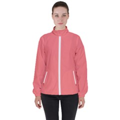 Color Light Red Women s High Neck Windbreaker by Kultjers