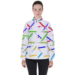 Pen Pencil Color Write Tool Women s High Neck Windbreaker by Dutashop