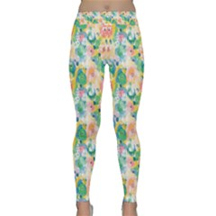 Water Color Floral Pattern Classic Yoga Leggings by designsbymallika