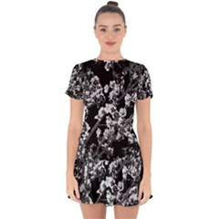 Fleurs De Cerisier Noir & Blanc Drop Hem Mini Chiffon Dress by kcreatif