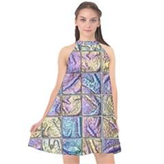 Tiles Cbdoilprincess 9bce4aa2-e68c-4f2b-9a83-c8e38fcd4516 Halter Neckline Chiffon Dress  by CBDOilPrincess1