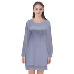 Cool Grey Long Sleeve Chiffon Shift Dress  by FabulousChoice