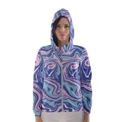 Vector Vivid Marble Pattern 10 Women s Hooded Windbreaker