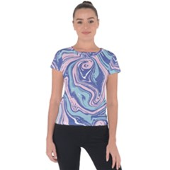 Vector Vivid Marble Pattern 10 Short Sleeve Sports Top  by goljakoff