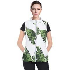 Green Banana Leaves Women s Puffer Vest