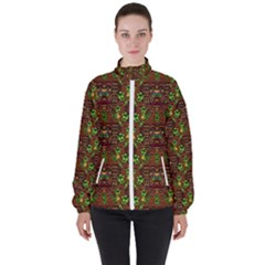 Rainbow Heavy Metal Artificial Leather Lady Among Spring Flowers Women s High Neck Windbreaker by pepitasart