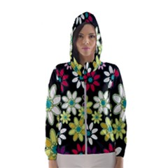 Flowerpower Women s Hooded Windbreaker by PollyParadise