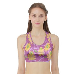 Folk Floral Pattern  Abstract Flowers Surface Design  Seamless Pattern Sports Bra With Border