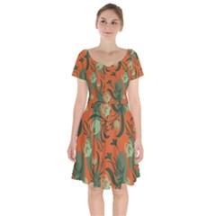 Folk Floral Pattern  Abstract Flowers Surface Design  Seamless Pattern Short Sleeve Bardot Dress by Eskimos