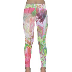 Boho Hippie Trippy Psychedelic Abstract Hot Pink Lime Green Classic Yoga Leggings