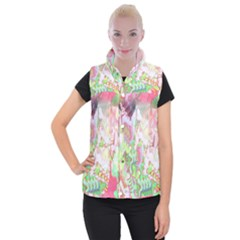 Boho Hippie Trippy Psychedelic Abstract Hot Pink Lime Green Women s Button Up Vest