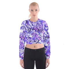 Weeping Wisteria Fantasy Gardens Pastel Abstract Cropped Sweatshirt by CrypticFragmentsDesign