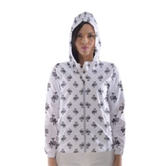 Black And White Sketchy Birds Motif Pattern Women s Hooded Windbreaker