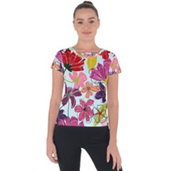 Flower Pattern Short Sleeve Sports Top