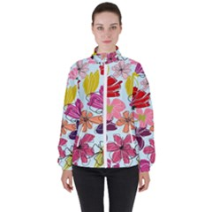 Flower Pattern Women s High Neck Windbreaker by Galinka