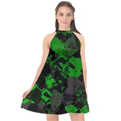 Cyber Camo Halter Neckline Chiffon Dress  by MRNStudios