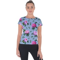Delicate Peonies Short Sleeve Sports Top