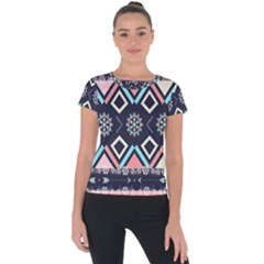 Gypsy-pattern Short Sleeve Sports Top  by PollyParadise