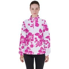 Hibiscus Pattern Pink Women s High Neck Windbreaker by GrowBasket