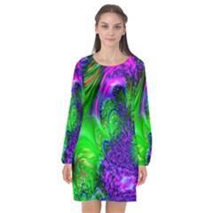 Feathery Winds Long Sleeve Chiffon Shift Dress  by LW323
