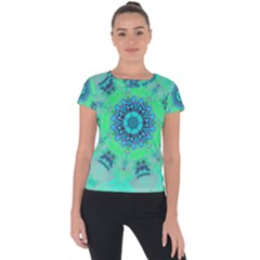 Blue Green  Twist Short Sleeve Sports Top  by LW323