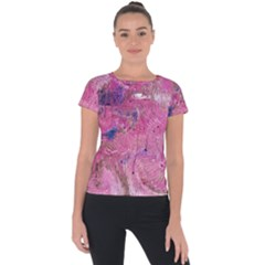 Pink Feathers Short Sleeve Sports Top