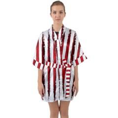 Red Stripes Half Sleeve Satin Kimono