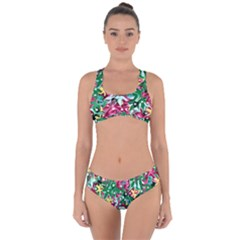 Floral-diamonte Criss Cross Bikini Set