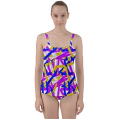 Colored Stripes Twist Front Tankini Set
