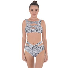 Silver Abstract Print Design Bandaged Up Bikini Set