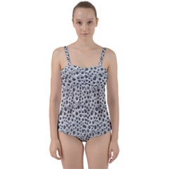 Silver Abstract Print Design Twist Front Tankini Set by dflcprintsclothing