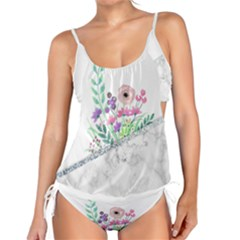 Minimal Silver Floral Marble A Tankini Set