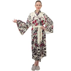 Berries In Winter, Fruits In Vintage Style Photography Maxi Velour Kimono by Casemiro