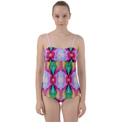 Colorful Abstract Painting E Twist Front Tankini Set