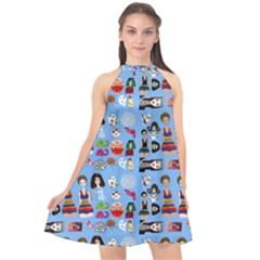 Drawing Collage Blue Halter Neckline Chiffon Dress  by snowwhitegirl