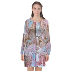 Marbling Collage Long Sleeve Chiffon Shift Dress  by meanmagentaphotography