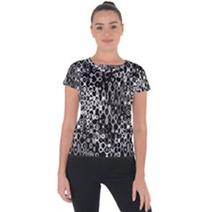 Black And White Modern Abstract Design Short Sleeve Sports Top  by dflcprintsclothing