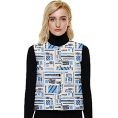 Ethnic Geometric Abstract Textured Art Women s Short Button Up Puffer Vest by dflcprintsclothing