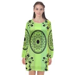 Green Grid Cute Flower Mandala Long Sleeve Chiffon Shift Dress  by Magicworlddreamarts1