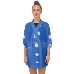 Clouds On Blue Half Sleeve Chiffon Kimono