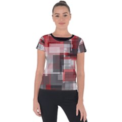 Abstract Tiles, Mixed Color Paint Splashes, Altered Short Sleeve Sports Top