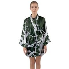 Branches Long Sleeve Satin Kimono