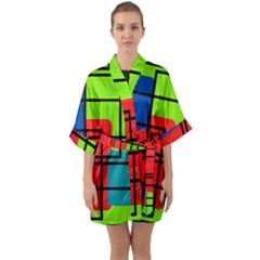 Colorful Rectangle Boxes Half Sleeve Satin Kimono