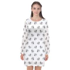 Funny Monster Feline Drawing Motif Pattern Long Sleeve Chiffon Shift Dress