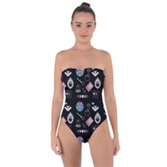 Small Witch Goth Pastel Print Tie Back One Piece Swimsuit