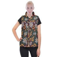 Folk Flowers Pattern Floral Surface Design Women s Button Up Vest by Eskimos