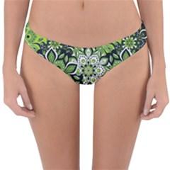 Green Floral Bohemian Vintage Reversible Hipster Bikini Bottoms
